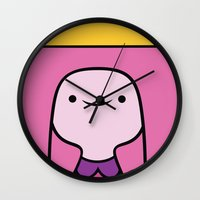princess bubblegum Wall Clocks featuring Princess Bubblegum by OverClocked