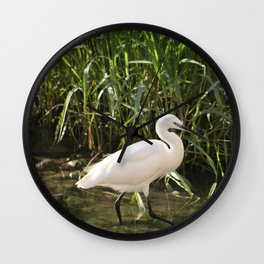 Great white egret bird wading in the river bank Wall Clock