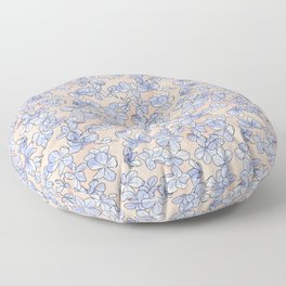Plumbago Floral Pattern | Peach Blue Floor Pillow