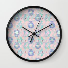 Lotus flower - powder pink woodblock print style pattern Wall Clock