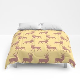Mid Century Modern Deer Pattern Dusty Brown and Yellow 3 Comforters