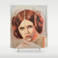 princess leia Shower Curtains featuring Princess Leia by Ashley Anderson
