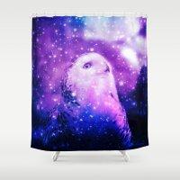 celestial Shower Curtains featuring Celestial Owl  by Alaskan Momma Bear