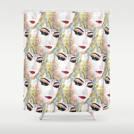 Elegant Fashionable Chic Sensual Female in Pop Surrealism Style Shower Curtain