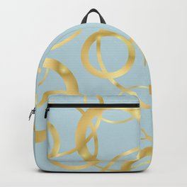 Golden Yellow Rings on Muted Blue Background Backpack