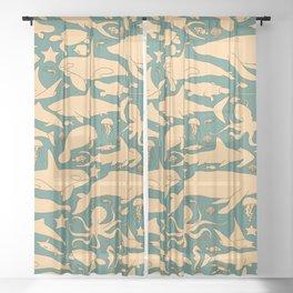 Minimalist, yellow and blue pattern of sea animals Sheer Curtain