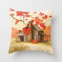 Smoky Mountain Cabin Throw Pillow