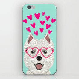Westie west highland terrier white valentines day dog lover pet valentine iPhone Skin