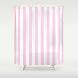 Pastel pink white modern geometric stripes Shower Curtain