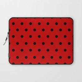 Cha Cha - Black Polka Dots in Red Laptop Sleeve