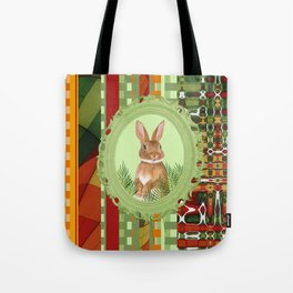 Bunny in geen frame with geometric background Tote Bag