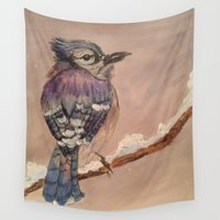 jay fleck Wall Tapestries featuring Blue Jay by Emily Tucci