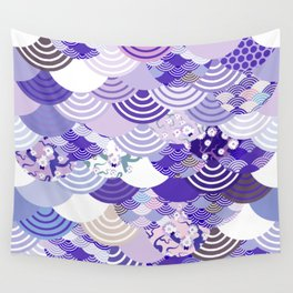 Nature background with japanese sakura flower, Cherry, wave circle. Ultra Violet Color of the Year Wall Tapestry