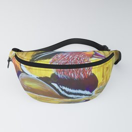 Colorful Mandarin Duck Floating on the water Fanny Pack