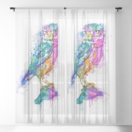 Colorful Owl Sheer Curtain