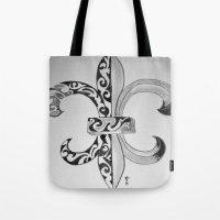 fleur de lis Tote Bags featuring Fleur De Lis - Drawing by neena