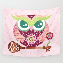 Spring Blossom Owl Wall Tapestry