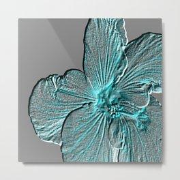 Bloom Grey Aqua Metal Print