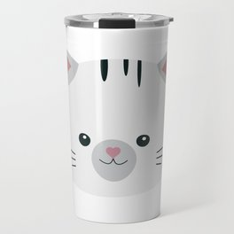 Black and White tiger cat Travel Mug