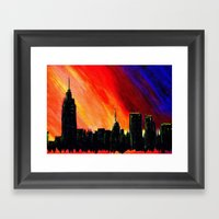 When the Lights Go Down in the City Framed Art Print