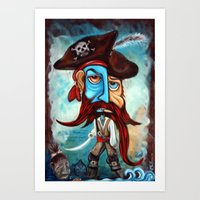 pirate Art Prints featuring Pirate by Laura Barbosa Art