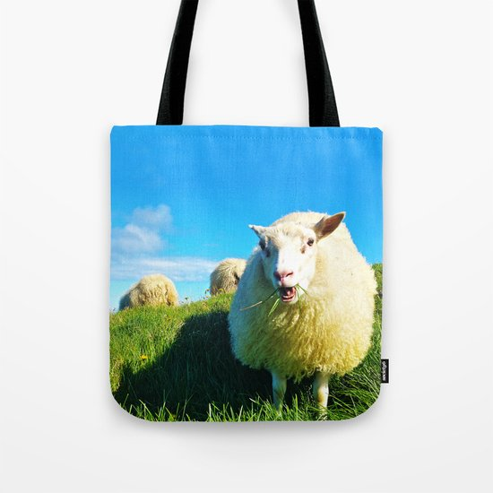 Sheeps in Iceland with Green Field Tote Bag