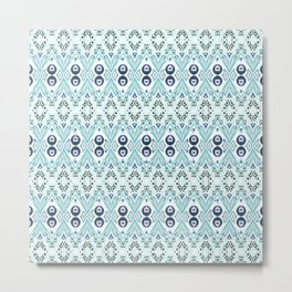 Ikat Java Blue Mini Metal Print