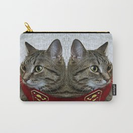 A portrait of a grey cat in a cape with a logo of Superman.  Carry-All Pouch