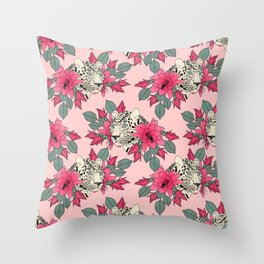 Classy cactus flowers and leopards design Throw Pillow
