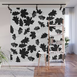 Falling Autumn Leaves in Black and White Wall Mural