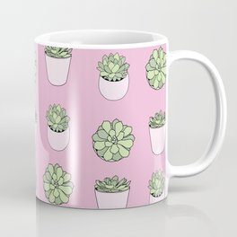 pink suculents in flowerpots Coffee Mug
