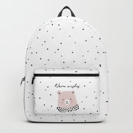 Pink bear and pine wreath Backpack