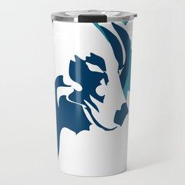 Left Eye Wolf Blue Travel Mug