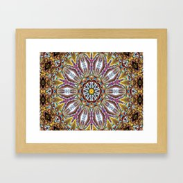 Lovely Healing Mandala  in Brilliant Colors: Black, Brown, Gold, Mauve, and Blue Framed Art Print