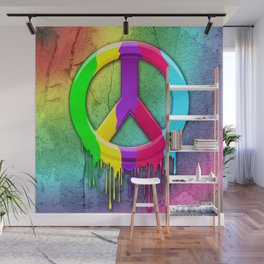 Peace Symbol Dripping Rainbow Paint Wall Mural