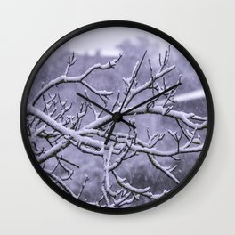 Snowy branches Wall Clock