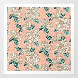 Dahlia -muted colors Art Print