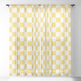 Mustard Yellow And White Checkerboard Pattern Sheer Curtain