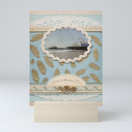 Vintage Santa Monica Pier faux Scrapbooking Design Mini Art Print