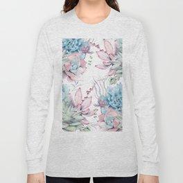 Pretty Pastel Succulents Garden 2 Long Sleeve T-shirt