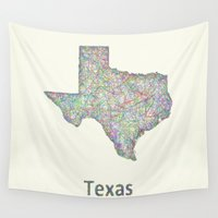 texas Wall Tapestries featuring Texas map by David Zydd