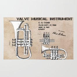 Valve musical instrument patent art Rug