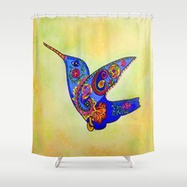 humming bird in color with green-yellow back ground Shower Curtain