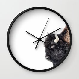 Bison Standing in a Snowstorm Wall Clock