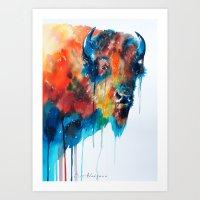 bison Art Prints featuring Bison by Slaveika Aladjova