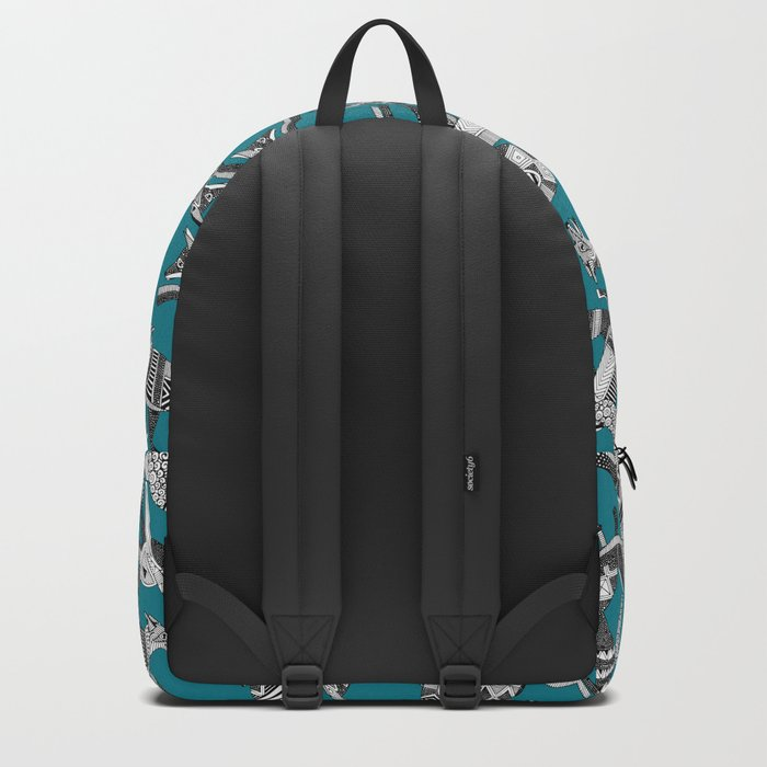 woodland fox party teal blue Backpack