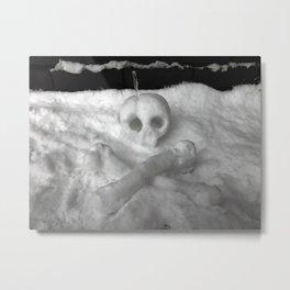 Snow Skull Metal Print