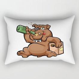 drunk dog with alcohol bottle Rectangular Pillow