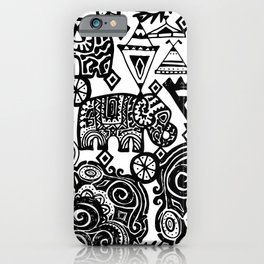 Beautiful boho pattern Indian Elephant with ornamental. Hand drawn ethnic tribal decorated Elephant iPhone Case