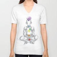 chakra V-neck T-shirts featuring chakra meditation by Kyle Ellsworth